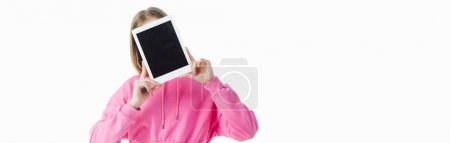 Photo for Panoramic shot of teenage girl holding digital tablet with blank screen isolated on white - Royalty Free Image