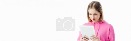 Photo for Panoramic shot of teenage girl holding digital tablet isolated on white - Royalty Free Image