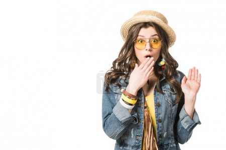Photo for Front view of shocked boho girl covering mouth with hand isolated on white - Royalty Free Image