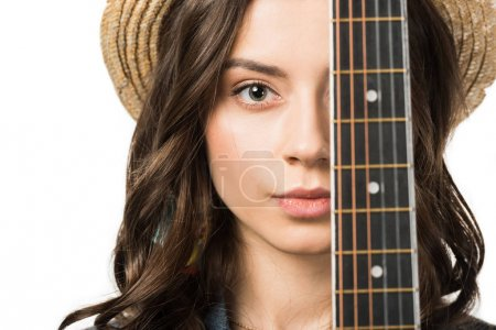 Photo pour Portrait of beautiful hippie girl with acoustic guitar isolated on white - image libre de droit