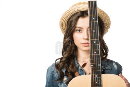 Photo for Front view of charming hippie girl with acoustic guitar isolated on white - Royalty Free Image