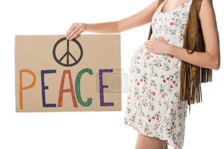 Photo pour Vue recadrée de femme hippie enceinte retenant l'affiche avec l'inscription d'isolement sur le blanc - image libre de droit
