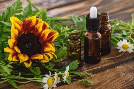 Photo pour Tournesol, fleurs de camomille et bouteilles avec des huiles essentielles sur la surface en bois - image libre de droit