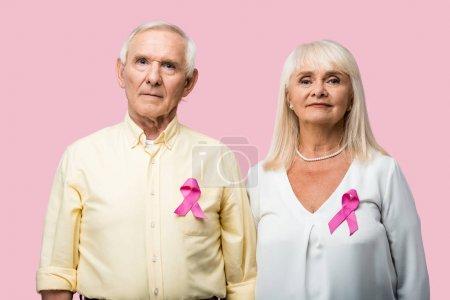 Photo pour Couple retraité avec des cheveux gris et des rubans comme sensibilisation à l'intimidation isolé sur rose - image libre de droit