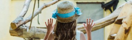 panoramic shot of kid in straw hat putting hands on window near monkeys in zoo