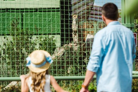 selective focus of daughter in straw hat and father holding hands while looking at leopard in cage