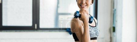 Photo pour Tir panoramique de jeune femme gaie travaillant dehors avec l'haltère et souriant dans la gymnastique - image libre de droit