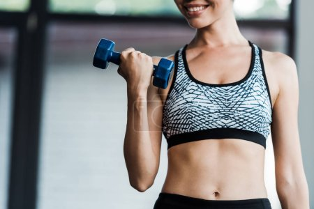 Photo for Cropped view of sportswoman holding dumbbell in gym - Royalty Free Image