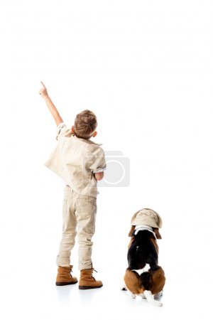 Photo for Back view of preschooler explorer boy with beagle dog pointing with finger on white - Royalty Free Image