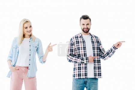 smiling girl and man pointing with fingers Isolated On White