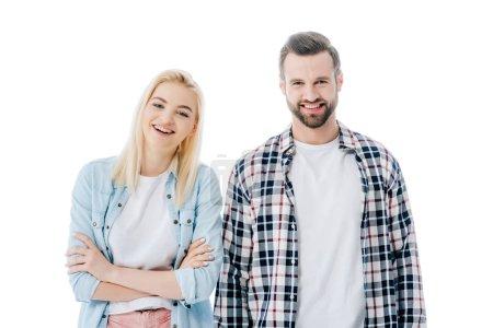 schöne blonde Mädchen und glücklicher Mann, die Kamera isoliert auf weiß