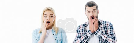 Photo for Panoramic shot of surprised girl and man covering mouths Isolated On White - Royalty Free Image