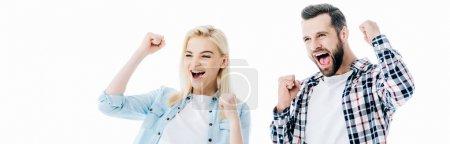 Photo pour Plan panoramique de fille et l'homme acclamant avec les poings serrés isolé sur blanc - image libre de droit