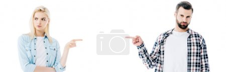 panoramic shot of offended pretty girl and handsome man pointing with fingers Isolated On White