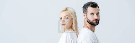 Photo for Panoramic shot of man and young woman in white T-shirts isolated on grey - Royalty Free Image