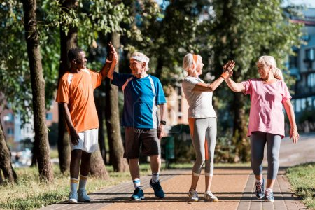 Photo pour Happy multicultural group of retired men and women giving high five in park - image libre de droit