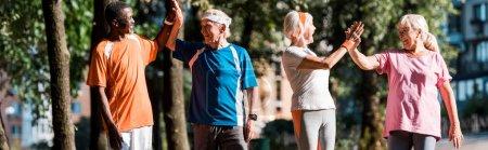 Foto de Foto panorámica de grupo multicultural feliz de hombres y mujeres jubilados dando cinco altos en el parque - Imagen libre de derechos