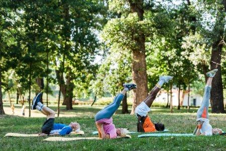 Photo pour Hommes et femmes retraités multiculturels s'exerçant sur des tapis de forme physique près des arbres - image libre de droit