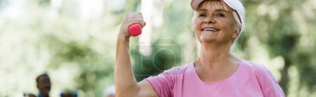 Photo for Panoramic shot of cheerful senior woman in cap holding dumbbell - Royalty Free Image