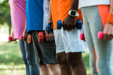 Photo for Cropped view of multicultural pensioners in sportswear holding dumbbells in park - Royalty Free Image