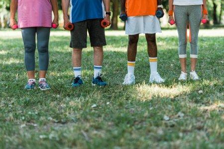 Photo pour Vue recadrée des retraités multiculturels dans les vêtements de sport retenant des haltères tout en restant sur l'herbe - image libre de droit