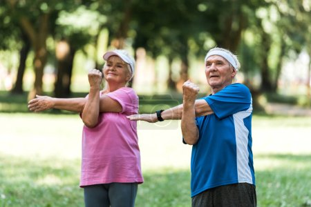 happy retired couple doing exercises while standing in park