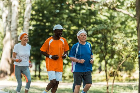 Photo for Happy multicultural senior men and retired woman running in park - Royalty Free Image