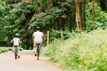 Photo pour Vue arrière de père et fils à vélo autour de la forêt - image libre de droit