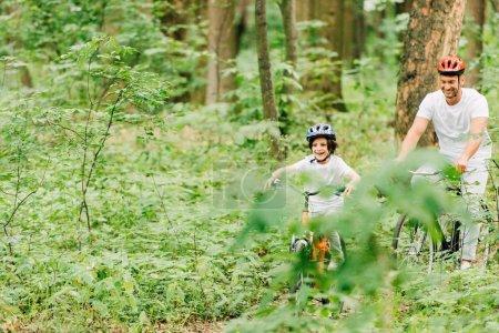 Photo pour Père et fils dans des casques à vélo autour de la forêt - image libre de droit