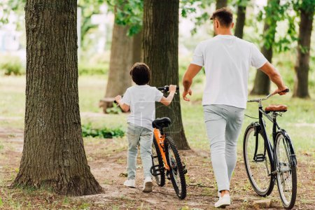 back view of father and son walking in forest with bicycles