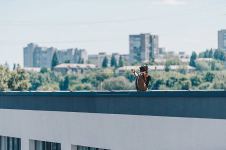 Photo for African american man gesturing with raised hands while standing on rooftop of building - Royalty Free Image