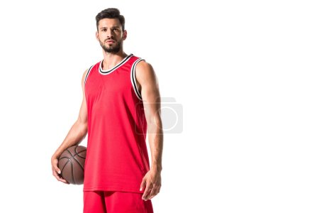 Photo for Handsome basketball player with ball looking at camera Isolated On White - Royalty Free Image