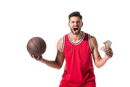 Photo pour Joueur de basket-ball avec la bille et les billets de banque de dollar d'isolement sur le blanc - image libre de droit