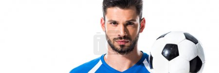 Photo for Panoramic shot of handsome soccer player with ball Isolated On White - Royalty Free Image