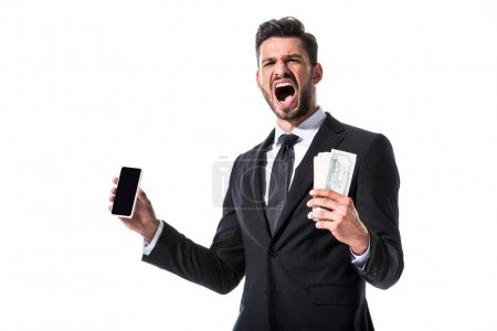 Photo for Shouting businessman with smartphone and clenched hand Isolated On White - Royalty Free Image