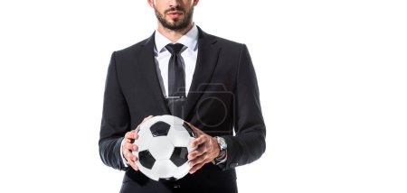 Photo for Panoramic shot of businessman in formal wear with soccer ball Isolated On White - Royalty Free Image