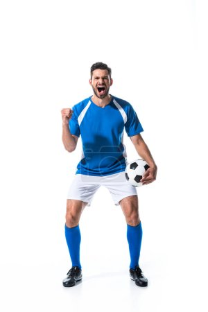 Photo for Excited soccer player with ball and clenched hand yelling Isolated On White - Royalty Free Image