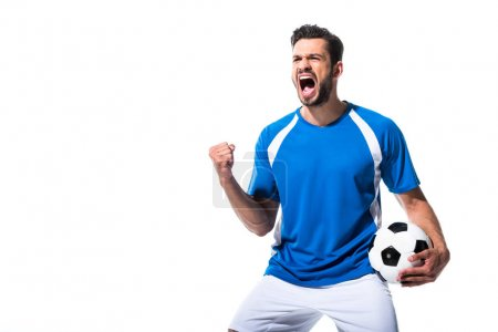 Photo for Excited soccer player with ball and clenched hand Isolated On White - Royalty Free Image