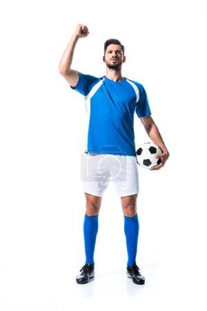 Photo pour Joueur de football avec le ballon Gesturing avec la main serrée d'isolement sur le blanc - image libre de droit