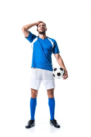Photo for Disappointed soccer player with ball and hand on head Isolated On White - Royalty Free Image