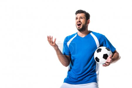 Photo for Disappointed soccer player with ball Gesturing Isolated On White - Royalty Free Image