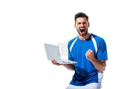 excited soccer player using laptop and cheering Isolated On White