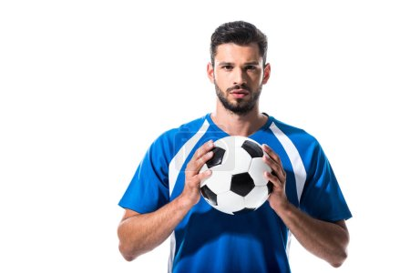 Photo for Handsome soccer player with ball looking at camera Isolated On White - Royalty Free Image