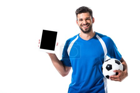 Photo for Happy soccer player with Digital Tablet and ball Isolated On White - Royalty Free Image
