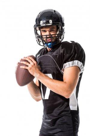 Photo pour Joueur américain de fixation de joueur de football d'isolement sur le blanc - image libre de droit