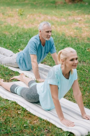 Photo pour Positive mature man and woman meditating on yoga mats on lawn in park - image libre de droit