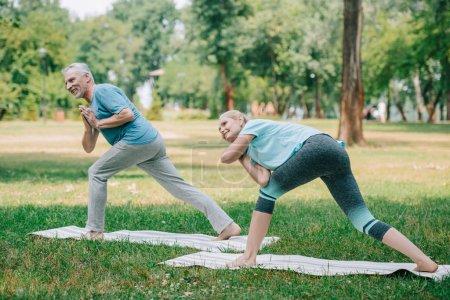 Photo pour Homme mature et femme pratiquant le yoga tout en se tenant debout sur des tapis de yoga dans le parc - image libre de droit