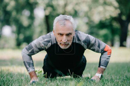 Photo for Confident mature sportsman doing push ups with barbells on lawn in park - Royalty Free Image