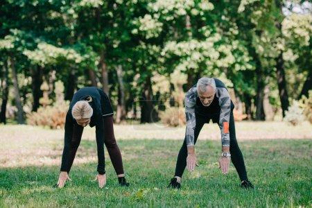 Photo pour Sportif mature et sportive s'entraînent ensemble dans un parc ensoleillé - image libre de droit