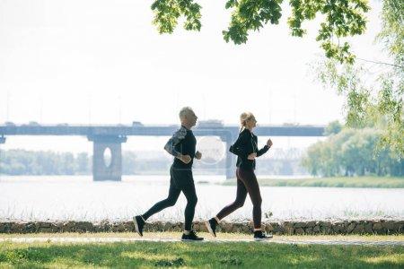 Photo pour Vue latérale des joggers matures sportifs courant le long du bord de la rivière dans le stationnement - image libre de droit